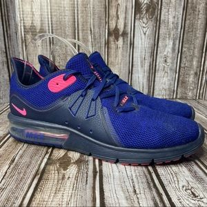 Nike Air Max Sequent 3 royal blue & pink athletic shoes- size 10.5